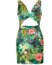 Topshop Tropical Print Cut Out Dress By Rare - Lyst