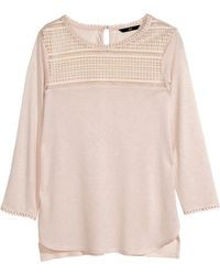 H&M Top With Lace - Lyst