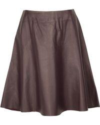 10 Crosby Derek Lam Aubergine Flare Leather Skirt - Lyst