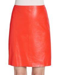 Akris Punto Leather Pencil Skirt - Lyst