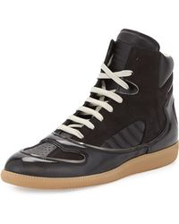 Maison Margiela Mixed-Leather High-Top Sneaker - Lyst