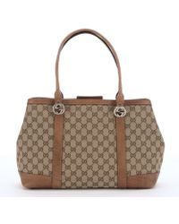 Gucci Beige And Ebony Gg Canvas 'Miss Gg' Tote - Lyst
