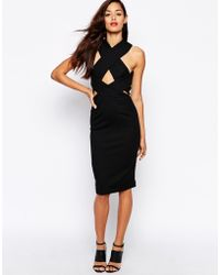 AQ/AQ Wink Strapped Midi Dress With Cross Back - Lyst