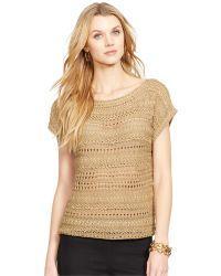 Lauren by Ralph Lauren Open-Knit Shimmer Sweater - Lyst