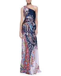 Carolina Herrera Printed Satin Oneshoulder Gown Navymulti - Lyst