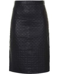 Topshop Womens Quilted Leather Pencil Skirt Black - Lyst