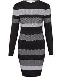 Alexander Wang Black Stripe Knit Bodycon Mini Dress - Lyst