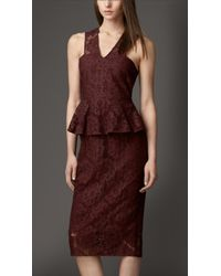 Burberry Peplum Detail Cotton Blend Lace Dress - Lyst
