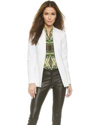 Alice + Olivia Alice + Olivia Long Open Front Collarless Blazer - White - Lyst