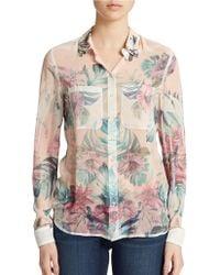 Guess Clouis Tropical Floral Print Chiffon Top - Lyst