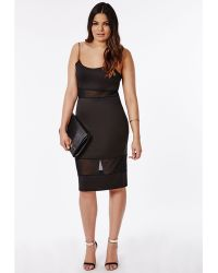 Missguided Plus Size Mesh Panel Bodycon Midi Dress - Lyst