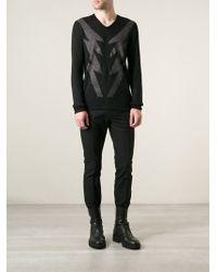 John Varvatos Intarsia Knit Sweater - Lyst