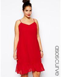 Asos Curve Cami Dress With Peplum Hem - Lyst