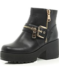River Island Black Chunky Ankle Boots - Lyst