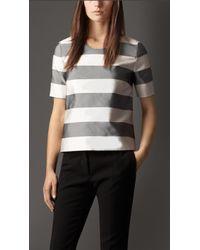 Burberry Block Stripe Silk Cotton Top - Lyst