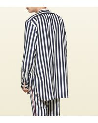 Gucci - Striped Silk Poplin Shirt - Lyst
