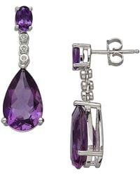 Lord & Taylor - Amethyst, Diamond And Sterling Silver Drop Earrings - Lyst