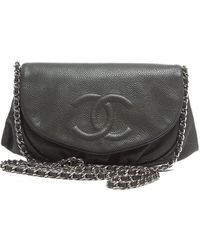 Chanel Pre-Owned Caviar Halfmoon Woc Wallet On Chain - Lyst