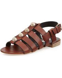 Balenciaga Studded Leather Flat Sandal - Lyst