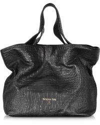 Patrizia Pepe Croco Print Leather Shopper - Lyst
