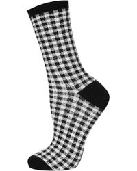 TOPSHOP - Black Gingham Ankle Socks - Lyst
