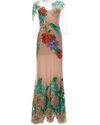 Blumarine Dahlia Embroidery Long Dress - Lyst