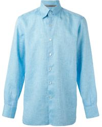 Canali Blue Classic Shirt - Lyst