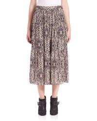 Haute Hippie | Snake-print Silk Midi Skirt | Lyst