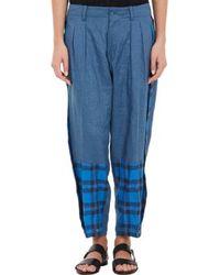 Yohji Yamamoto Plaid-inset Trousers - Lyst