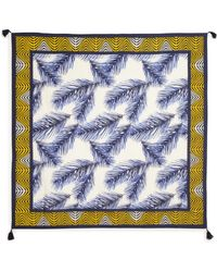 Tory Burch Feather-Print Cotton & Silk Scarf - Lyst