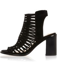 River Island | Black Suede Caged Heeled Shoe Boots | Lyst