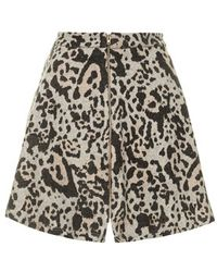 Topshop Leopard Zip Through Skirt - Lyst