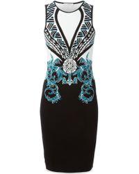 Versace Intarsia Knit Patterned Dress - Lyst