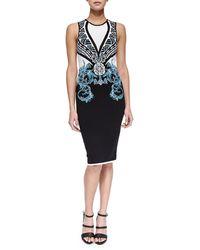 Versace Scrolling Intarsia Knit Sheath Dress - Lyst