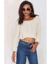 Nasty Gal Sought Cable Knit Sweater - Lyst