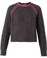 T By Alexander Wang Contrast-Stripe Aran-Knit Sweater - Lyst