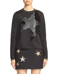 Anthony Vaccarello - Eyelet Detail Star Applique Sweatshirt - Lyst