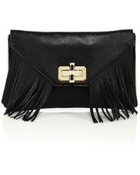 Diane von Furstenberg | 440 Gallery Agent Riley Fringed Leather Zip-on Clutch | Lyst