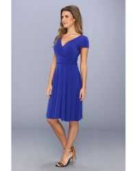 Maggy London Cap Sleeve Solid Jersey Double Vneck Dress - Lyst