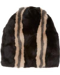 Marni - Stripe Rabbit & Mink Fur Hat - Lyst