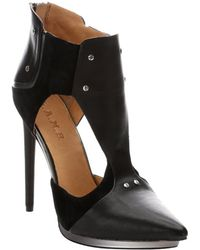 L.a.m.b. Black Leather And Suede 'Trevor' Cutout Pumps - Lyst