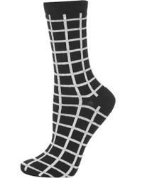 Topshop Womens Checked Ankle Socks - Black - Lyst