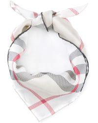Burberry Checked Square Scarf beige - Lyst