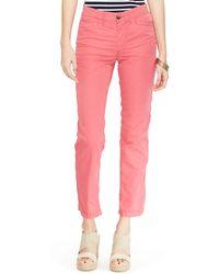 Ralph Lauren Lauren Crop Cotton Chino Pants - Lyst