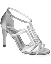 Adrianna Papell Emilia Satin And Crystal T-Strap Sandals - Lyst