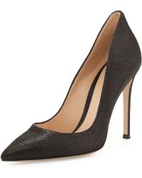 Gianvito Rossi Crackled Metallic Pointtoe Pump - Lyst
