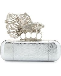 Alexander McQueen Jeweled Fish Long Knuckle Box Clutch Bag silver - Lyst