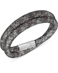 Swarovski Palladium-tone Stardust Mesh Double Wrap Bracelet - Lyst