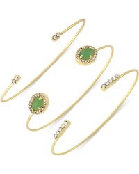 Vince Camuto - Large Stone And Crystal Set Of 3 Open-cuff Bracelets - Lyst