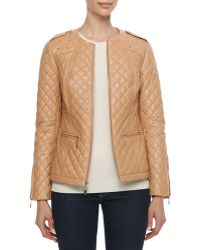 Neiman Marcus - Quilted and Studded Leather Jacket - Lyst
